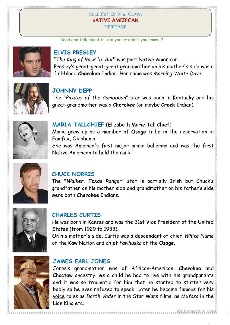 Native Americans (Usa): Celebrities - 2 Pages (Reading, Crossword - Native American Crossword Puzzle Printable