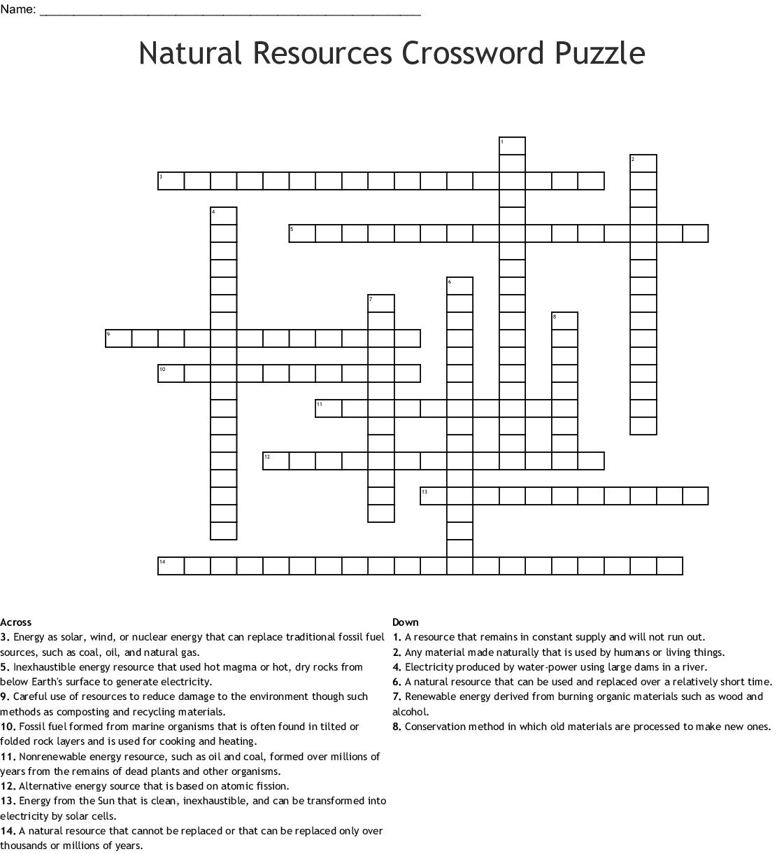 Natural Resources Crossword Puzzle Crossword - Wordmint - Recycling Crossword Puzzle Printable