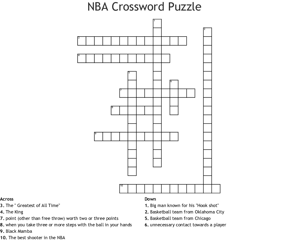 Nba Crossword Puzzle Crossword - Wordmint - Printable Basketball Crossword Puzzles