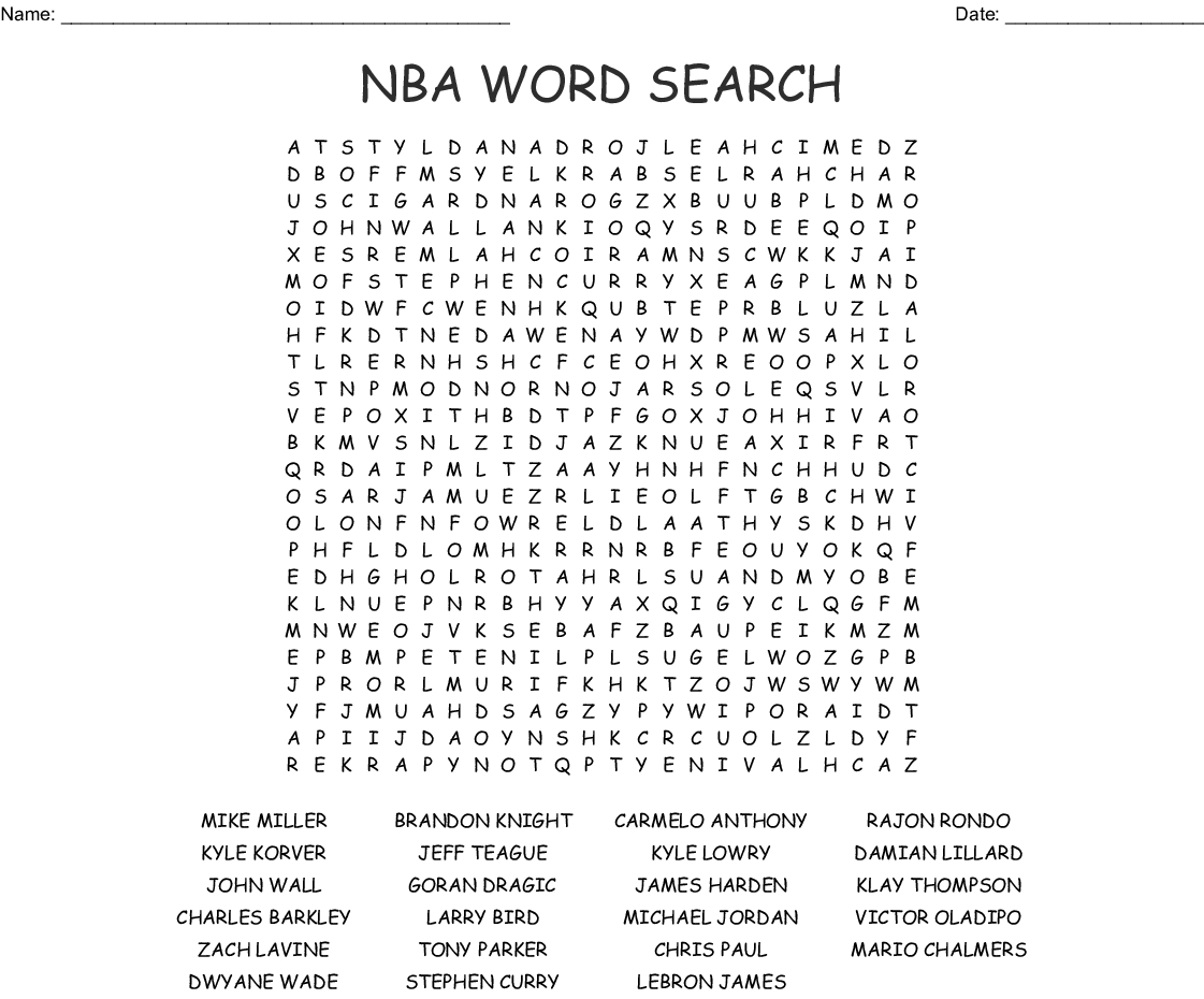 Nba Word Search - Wordmint - Printable Nba Crossword Puzzles