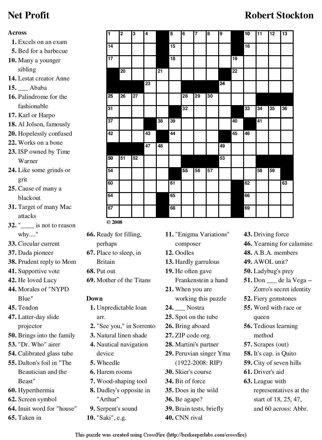 Netprofit Large Crosswords Printable Crossword Puzzle - Printable Crossword Puzzles Pdf