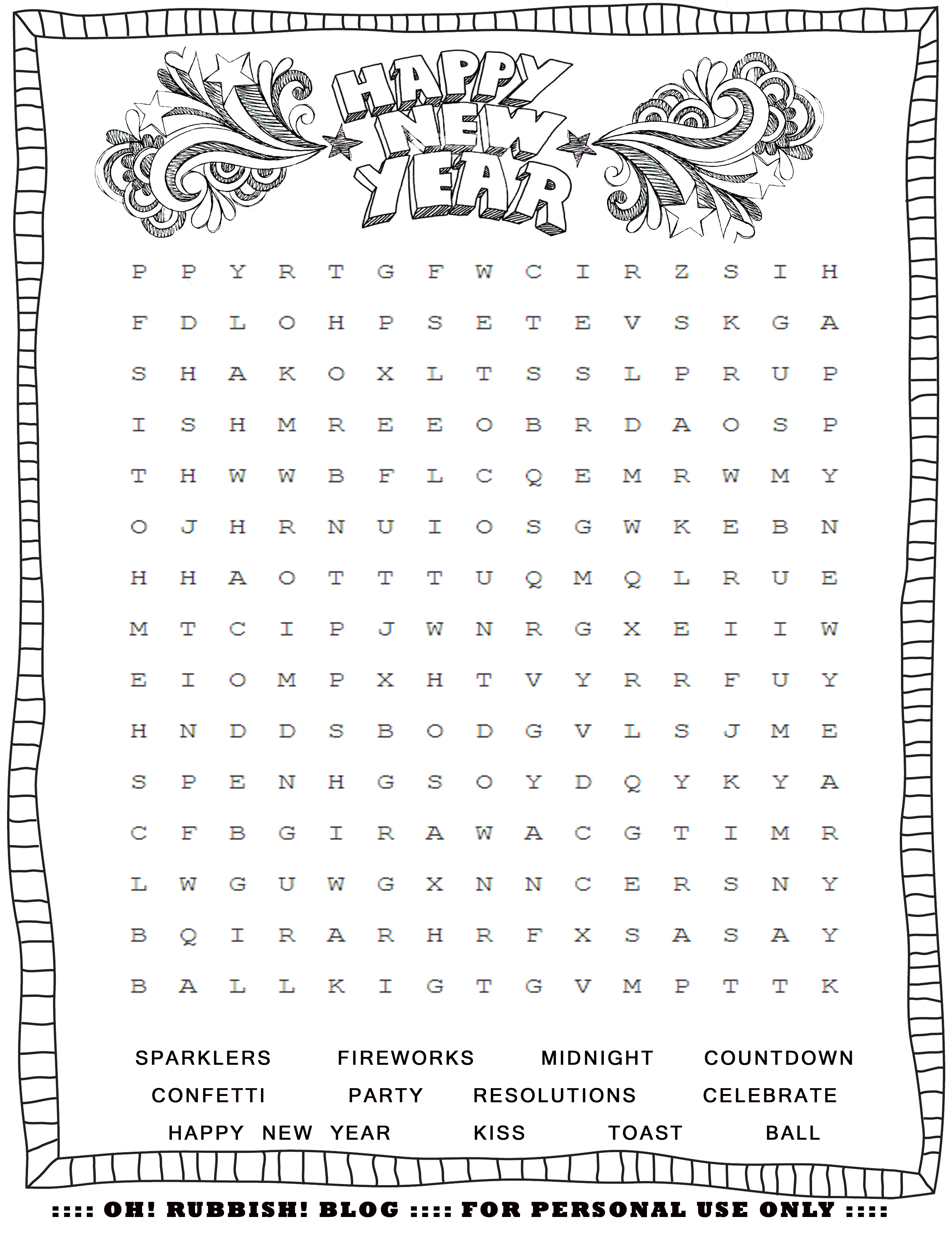 New Year Crossword Puzzle Printable – Festival Collections - Printable New Year's Crossword Puzzle