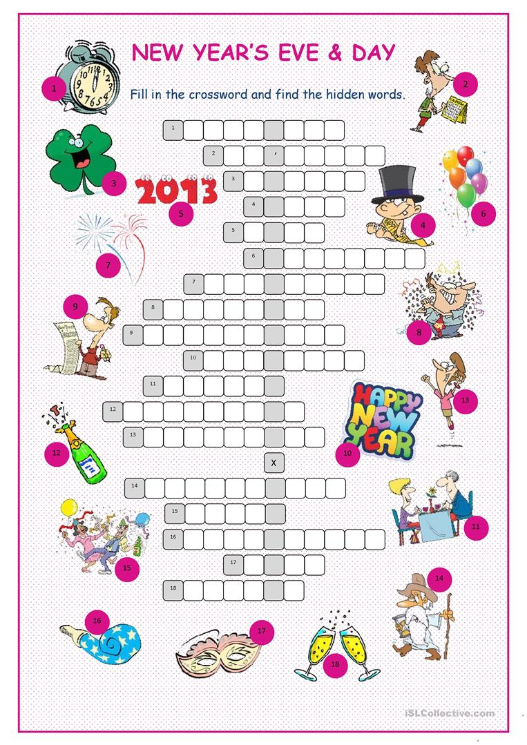 New Year's Eve &day Crossword Puzzle Worksheet - Free Esl Printable - New Year's Printable Puzzles