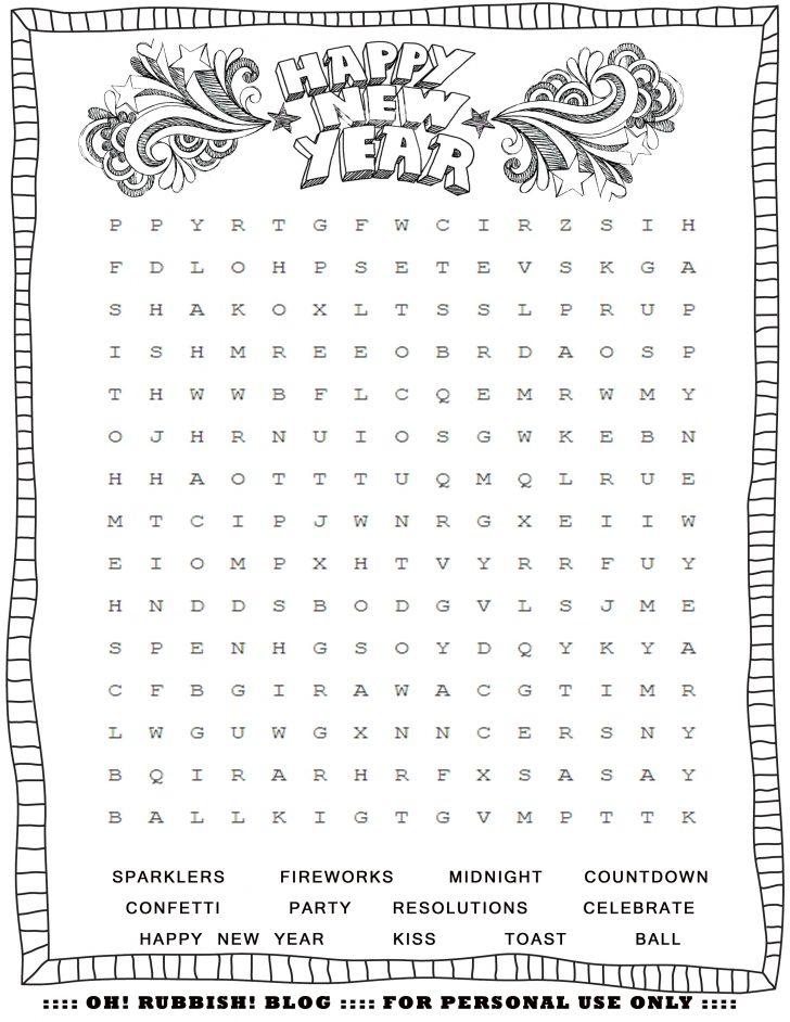 New Year Crossword Puzzle Printable