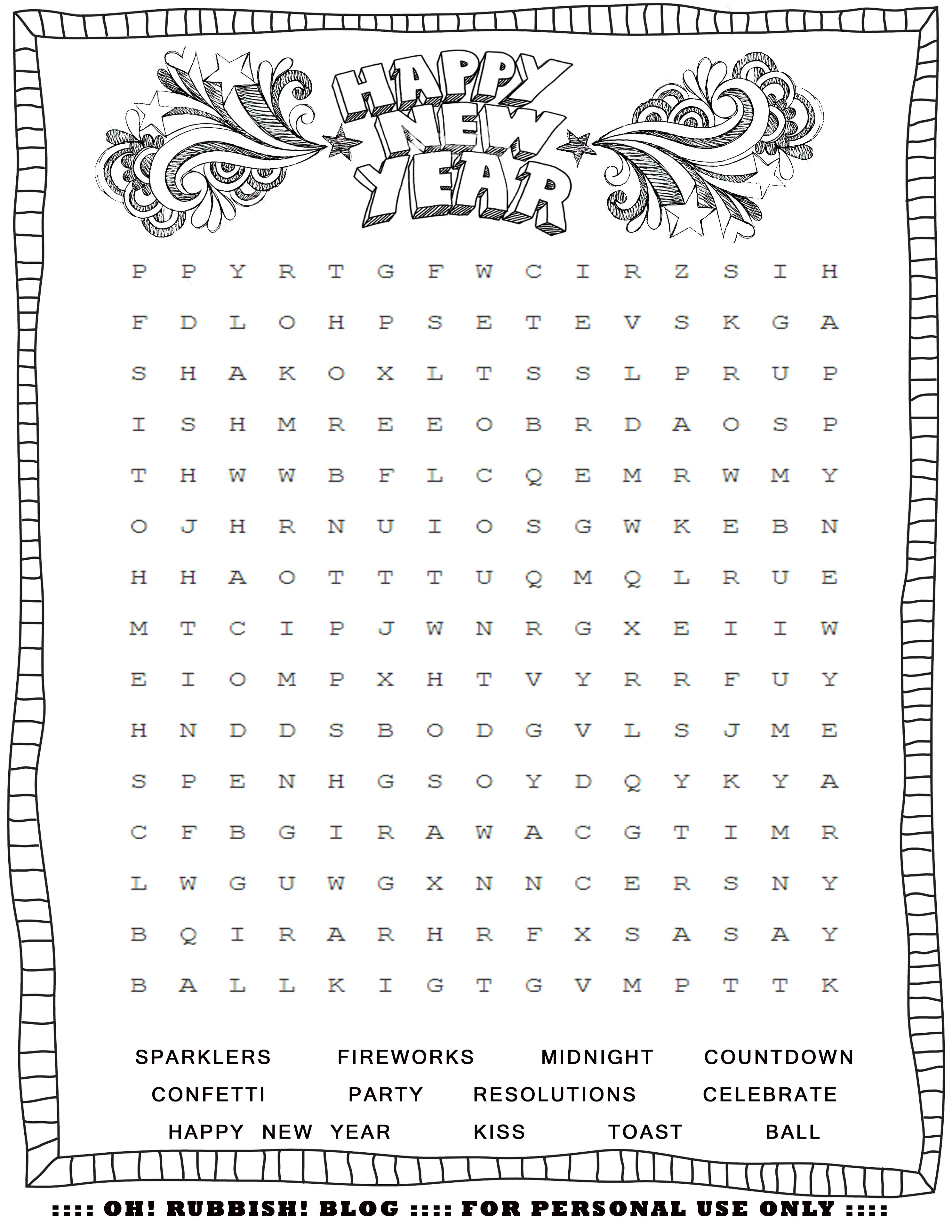 New Year's Printable Activities :: Entertain Your Kids With 4 New - New Year Crossword Puzzle Printable
