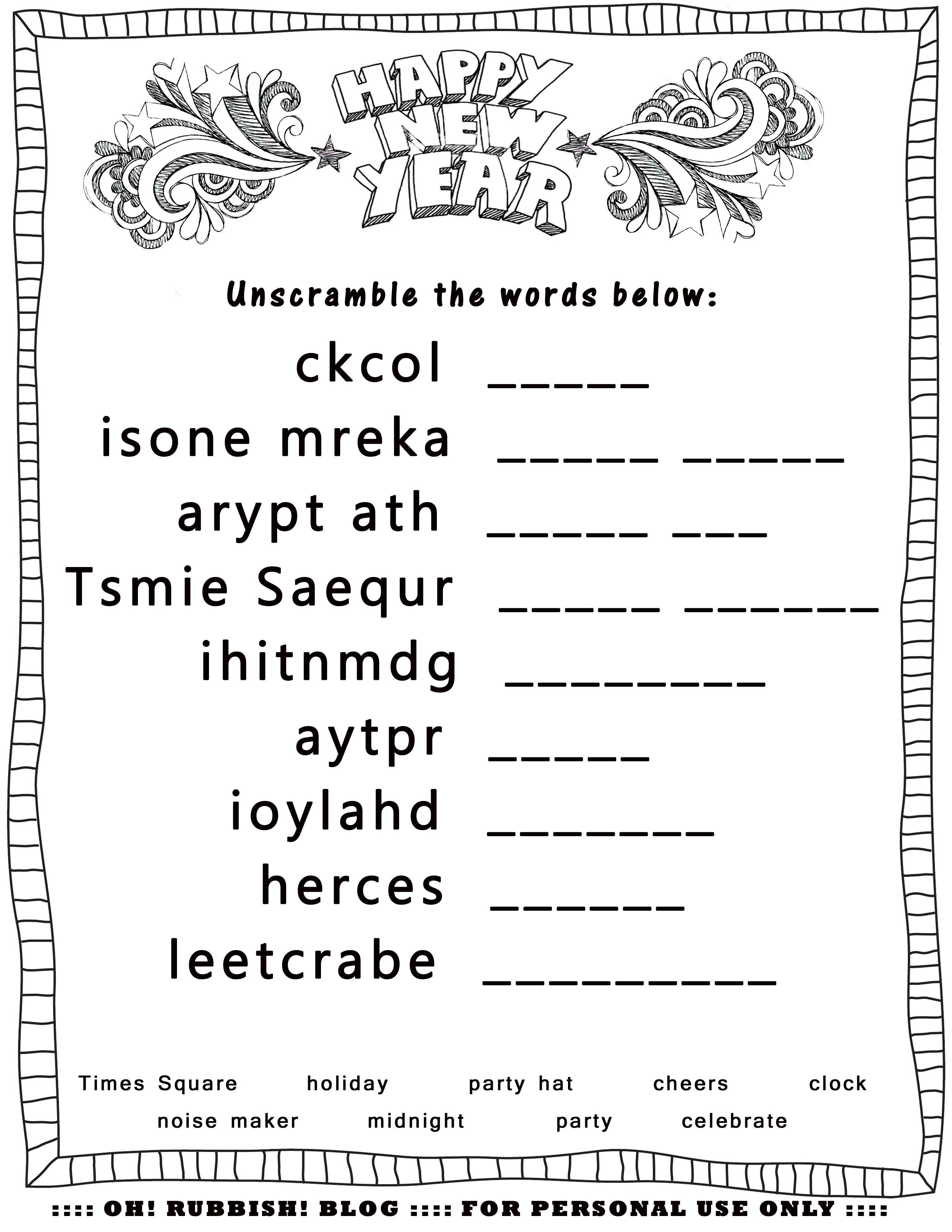 New Year's Printable Activities :: Entertain Your Kids With 4 New - Printable Unscramble Puzzles