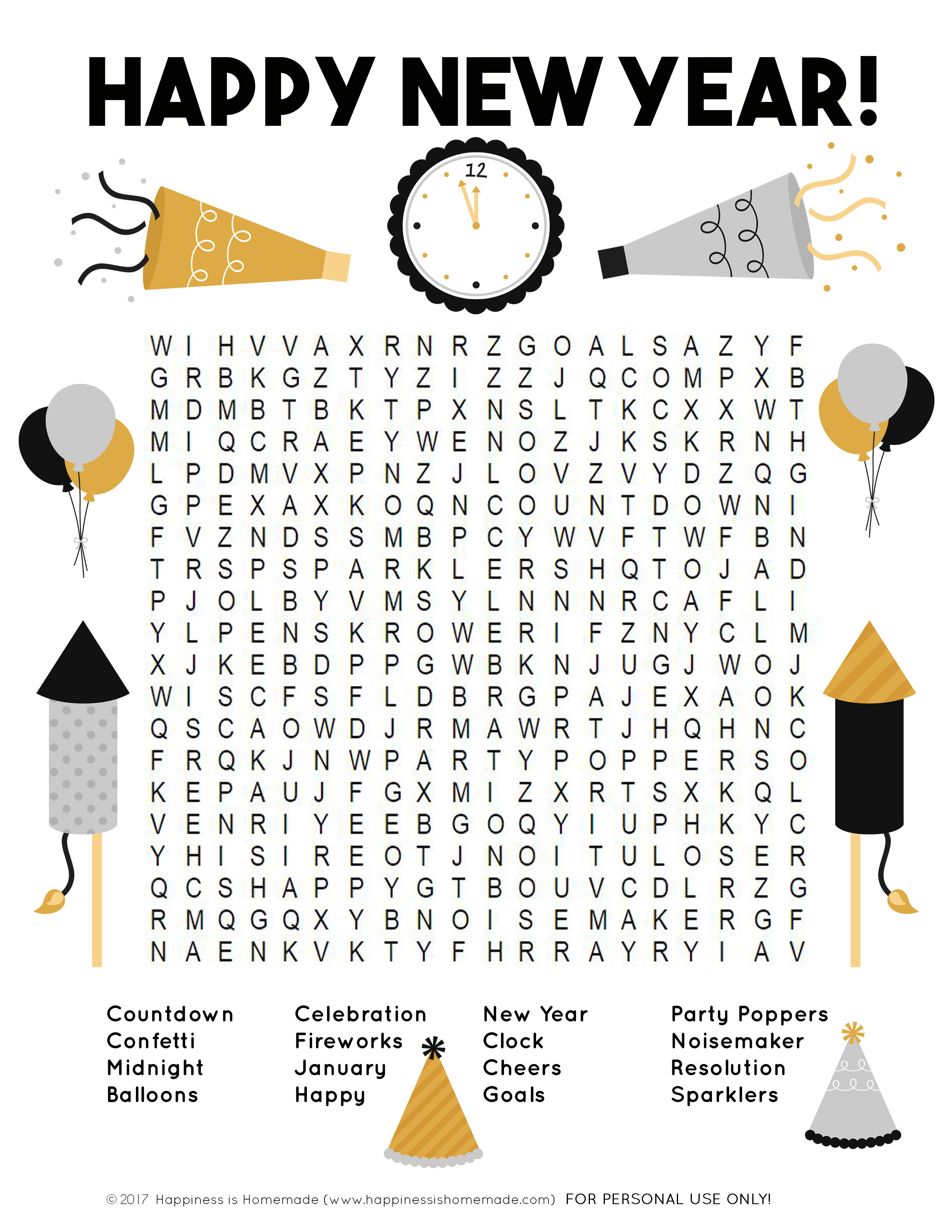 New Year's Word Search Printable - Happiness Is Homemade - New Year's Printable Puzzles