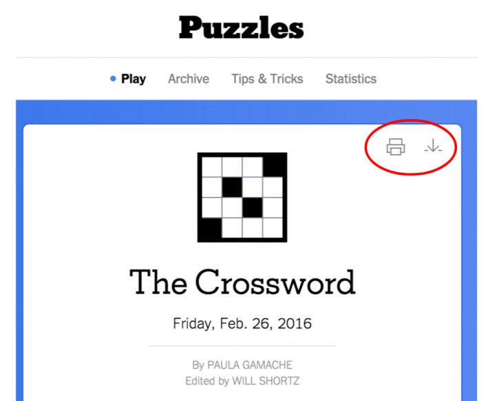 Printable Ny Times Crossword Puzzles