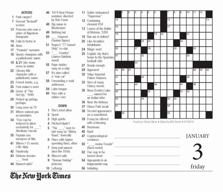 New York Times Free Crossword Puzzles Printable