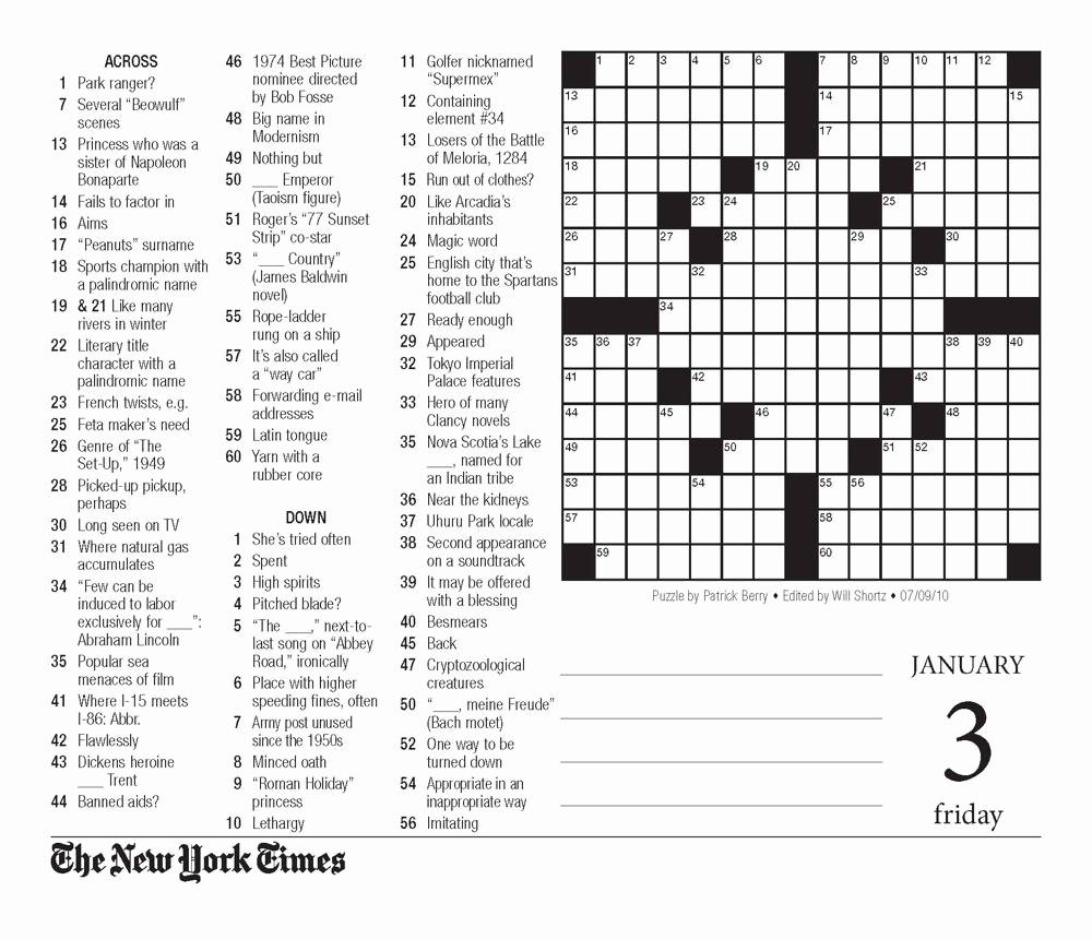 New York Times Sunday Crossword Printable – Rtrs.online - Printable Crossword Puzzle New York Times