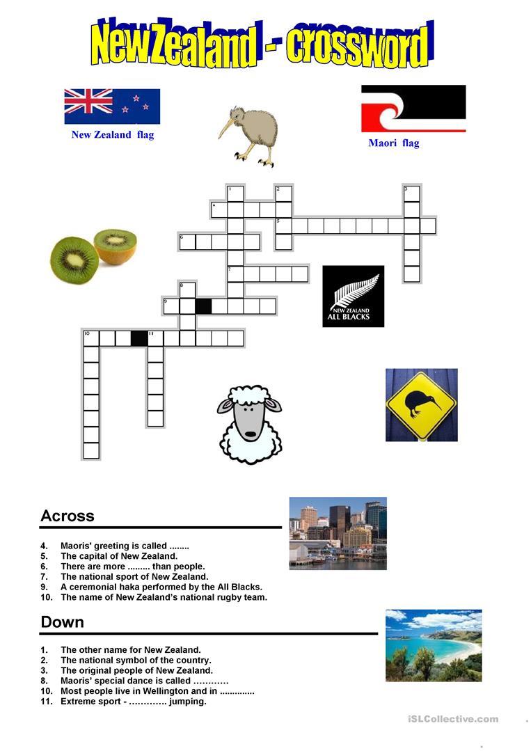 New Zealand - Crossword Worksheet - Free Esl Printable Worksheets - Printable Crossword Nz