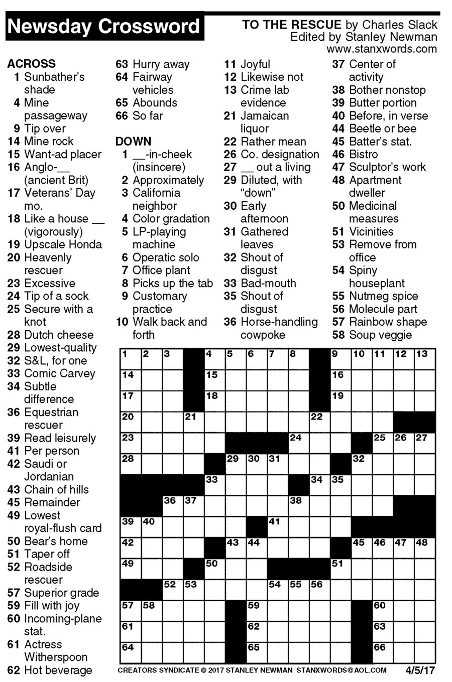 Newsday Crossword Puzzle For Apr 05, 2017,stanley Newman - Printable Crossword Newsday