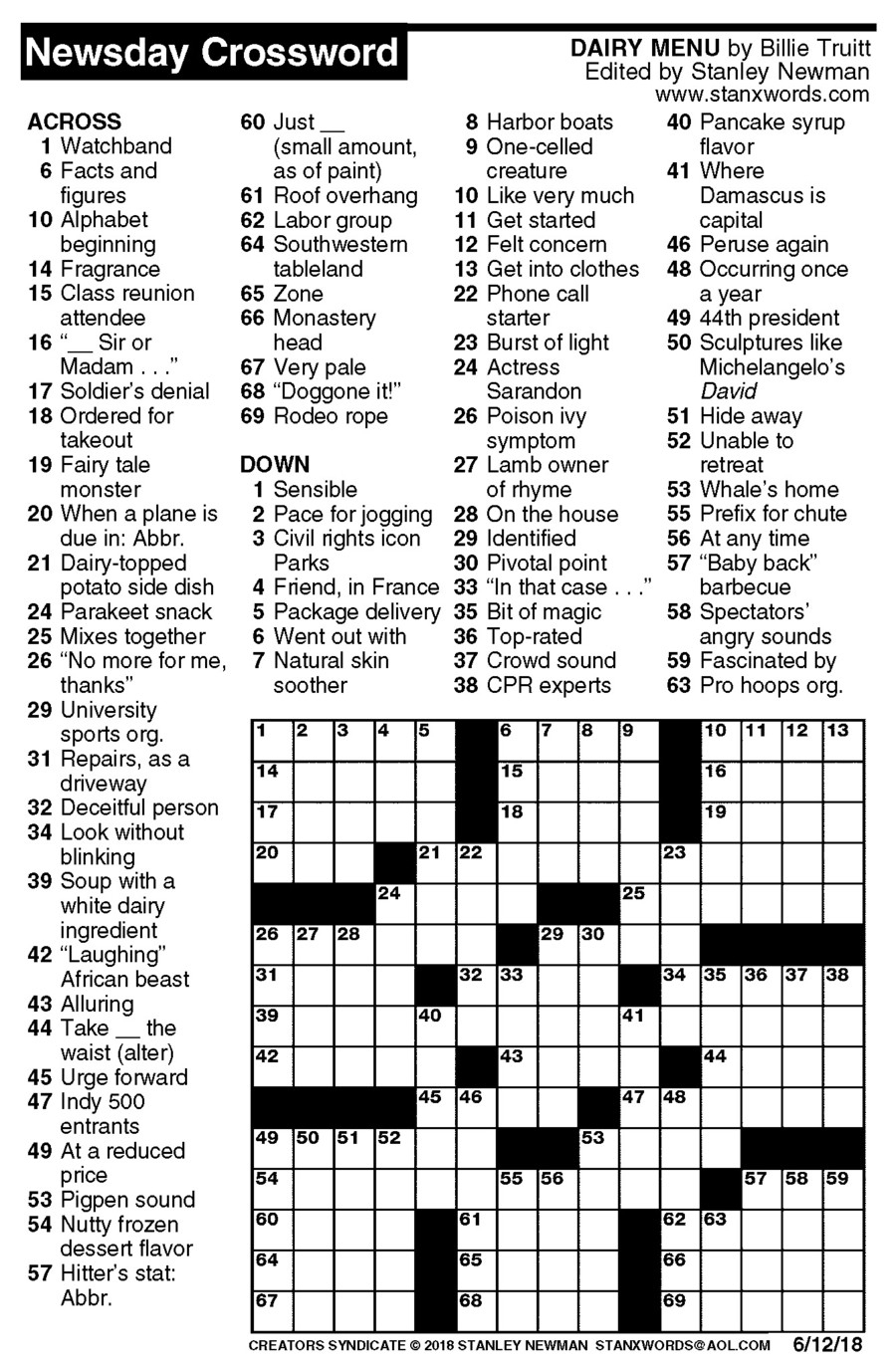 Newsday Crossword Puzzle For Jun 12, 2018,stanley Newman - Printable Crossword Puzzles Newsday