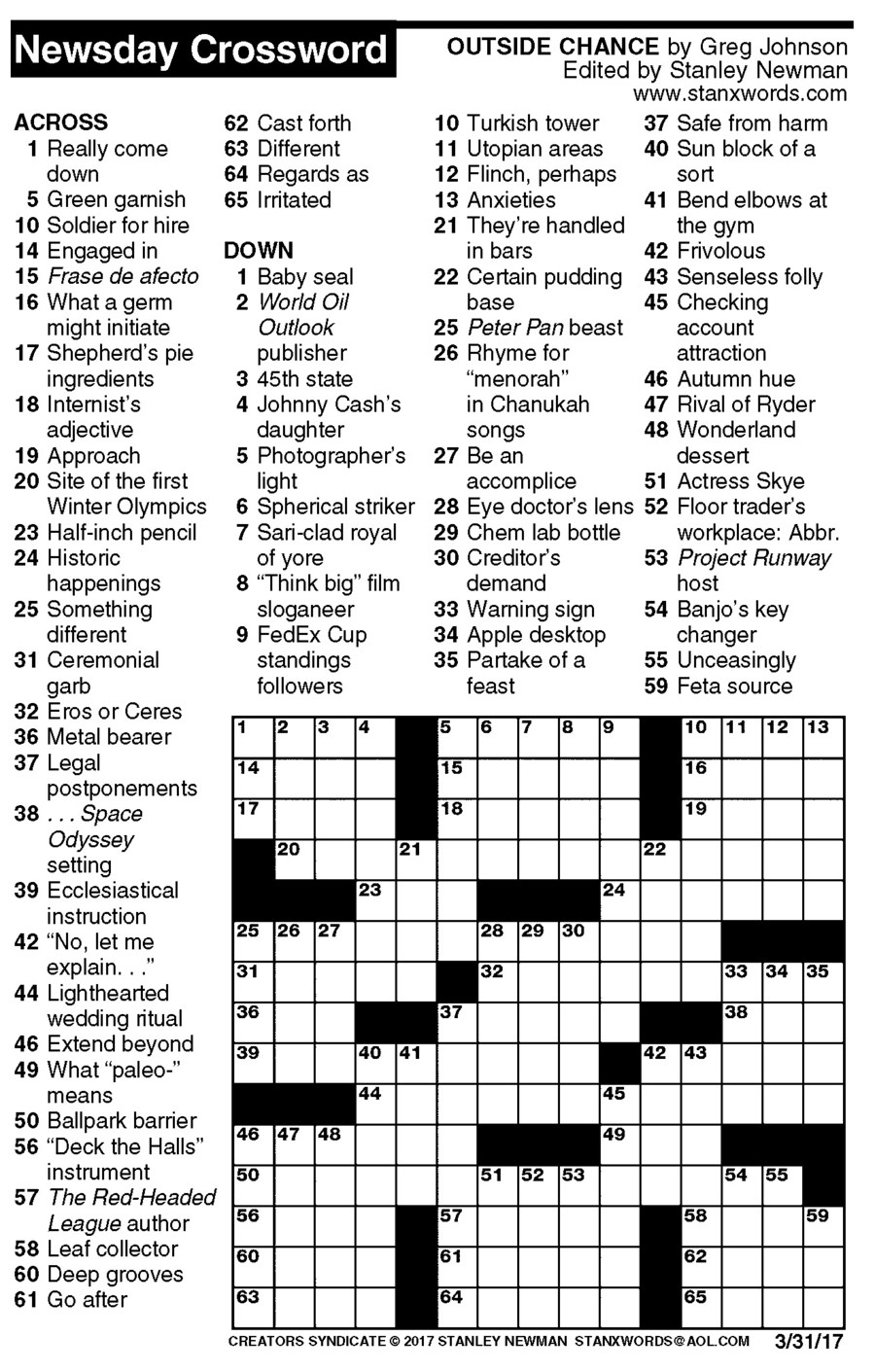 Newsday Crossword Puzzle For Mar 31, 2017,stanley Newman - Printable Crossword Puzzles Newsday
