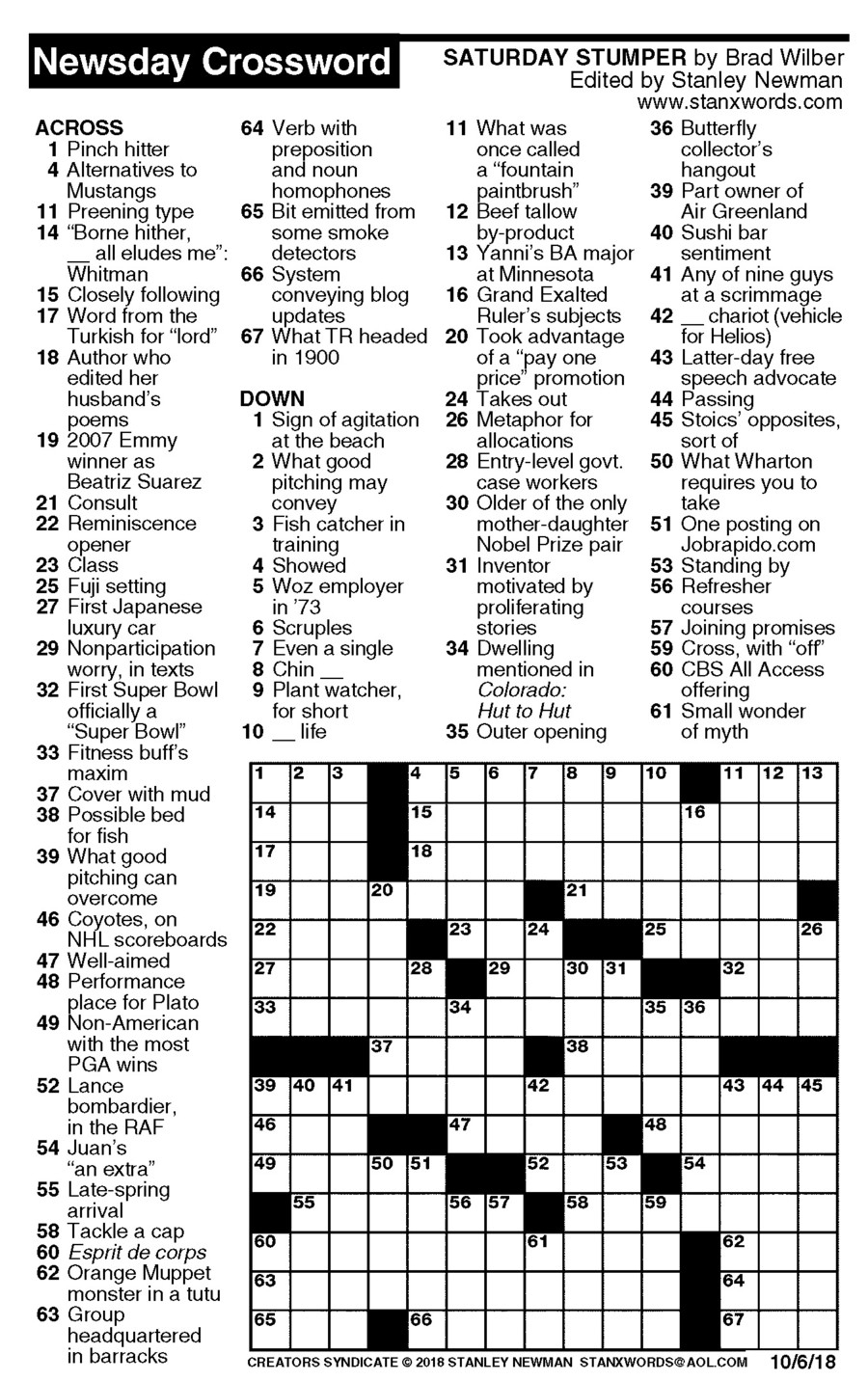 Newsday Crossword Puzzle For Oct 06, 2018,stanley Newman - October Crossword Puzzle Printable