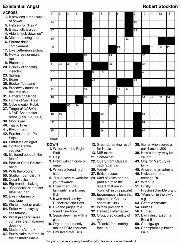 Printable Crossword Puzzles By Jacqueline Mathews