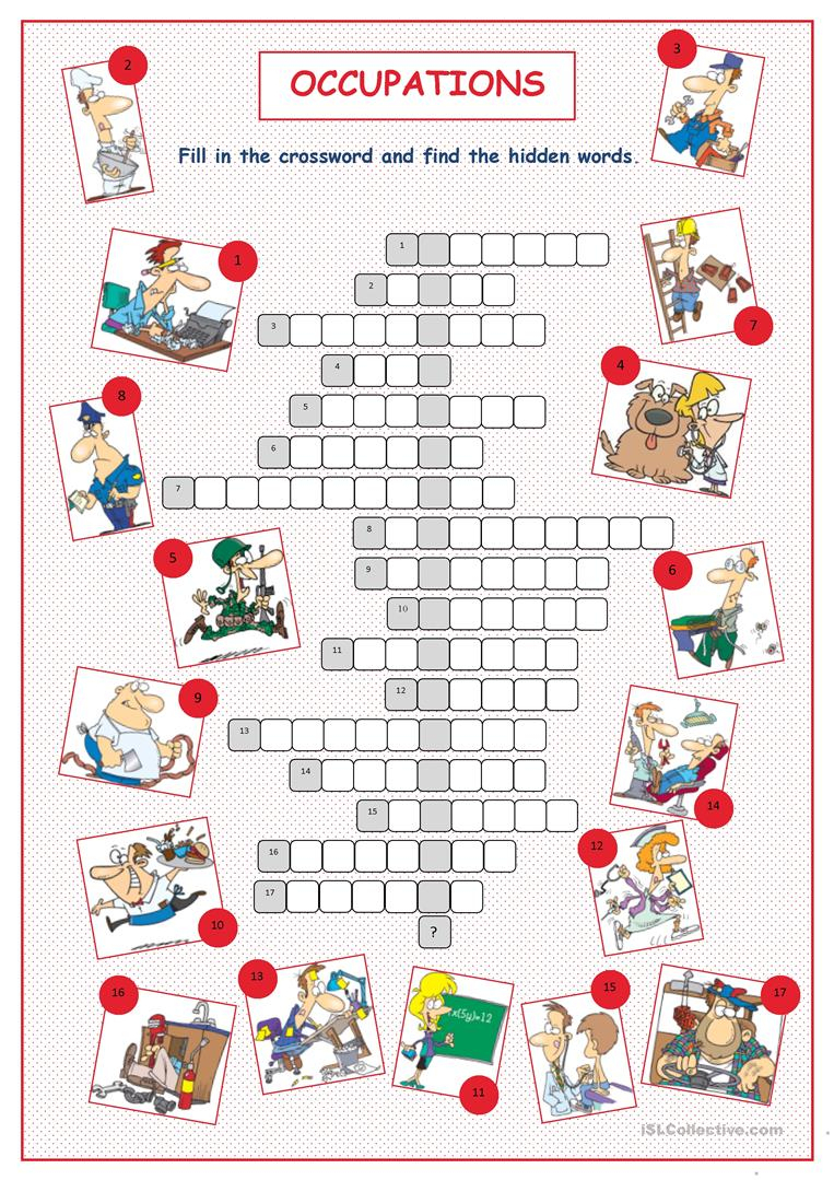 Occupations Crossword Puzzle Worksheet - Free Esl Printable - Crossword Puzzle Printable Worksheets