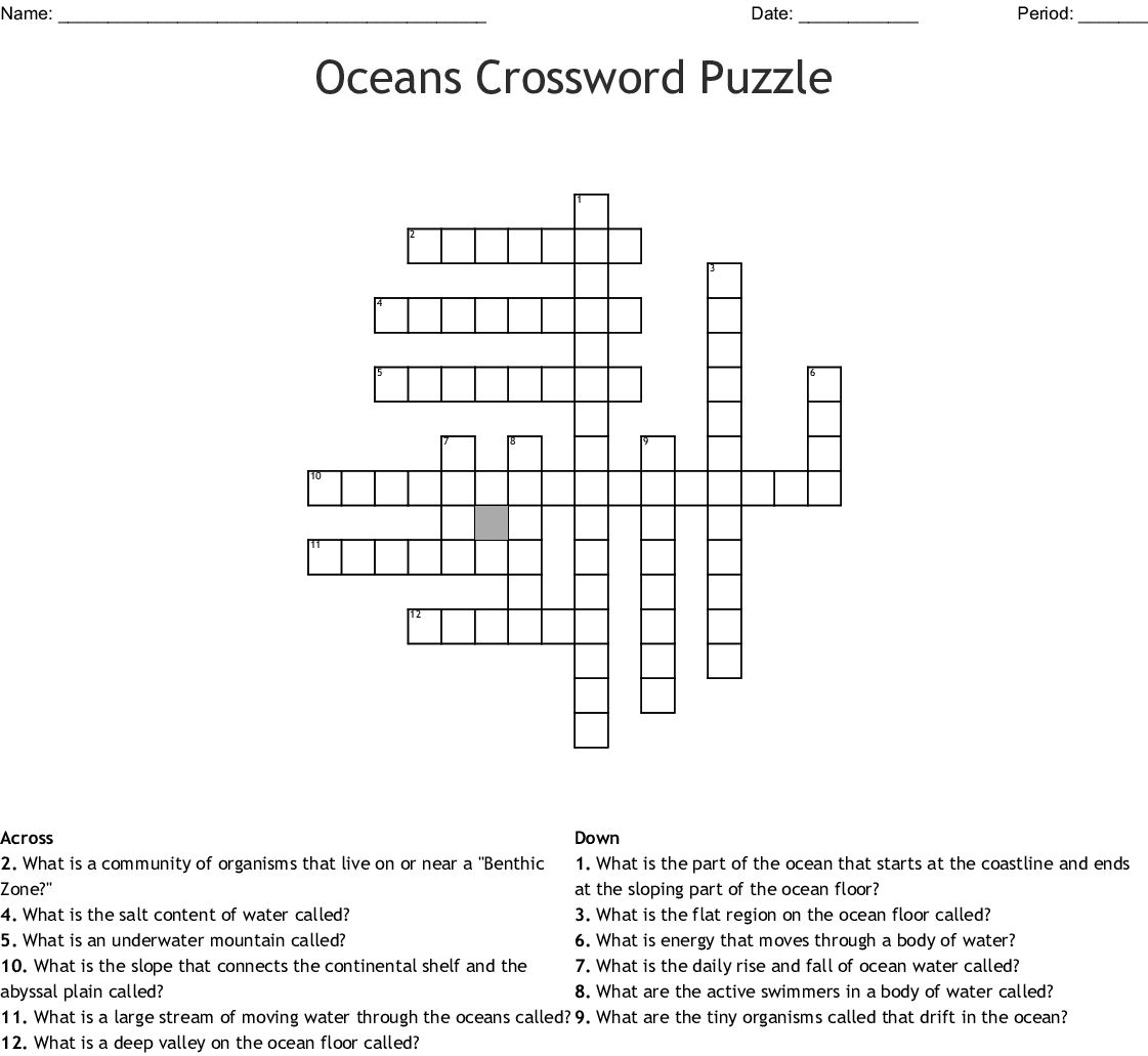 Oceans Crossword Puzzle Crossword - Wordmint - Printable Ocean Crossword Puzzles