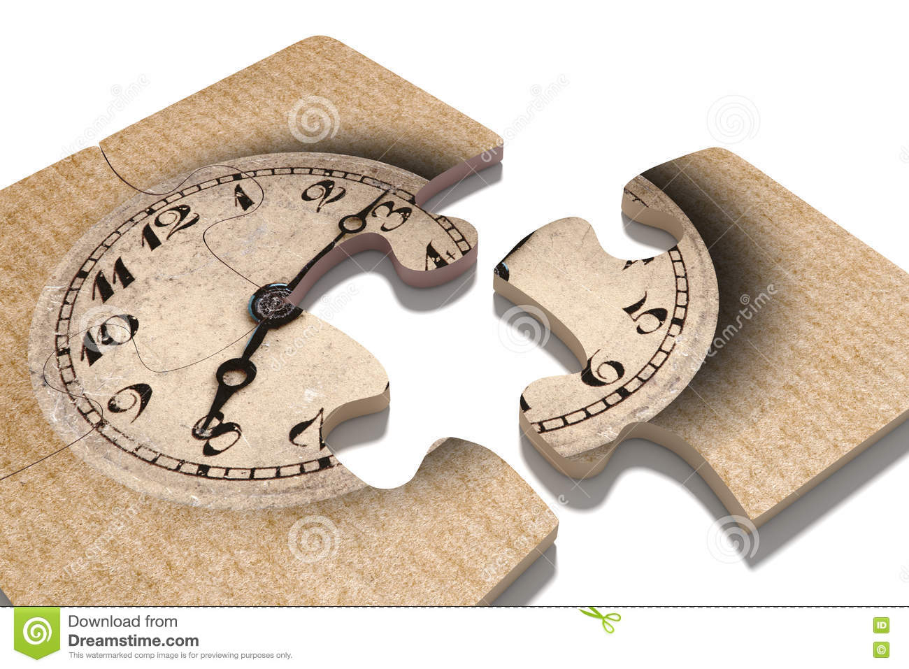 Old-Fashioned Clock Print On Puzzle Pieces Stock Illustration - Print On Puzzle
