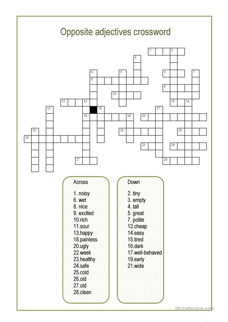 Opposite Adjectives Crossword Worksheet - Free Esl Printable - Adjectives Crossword Puzzle Printable