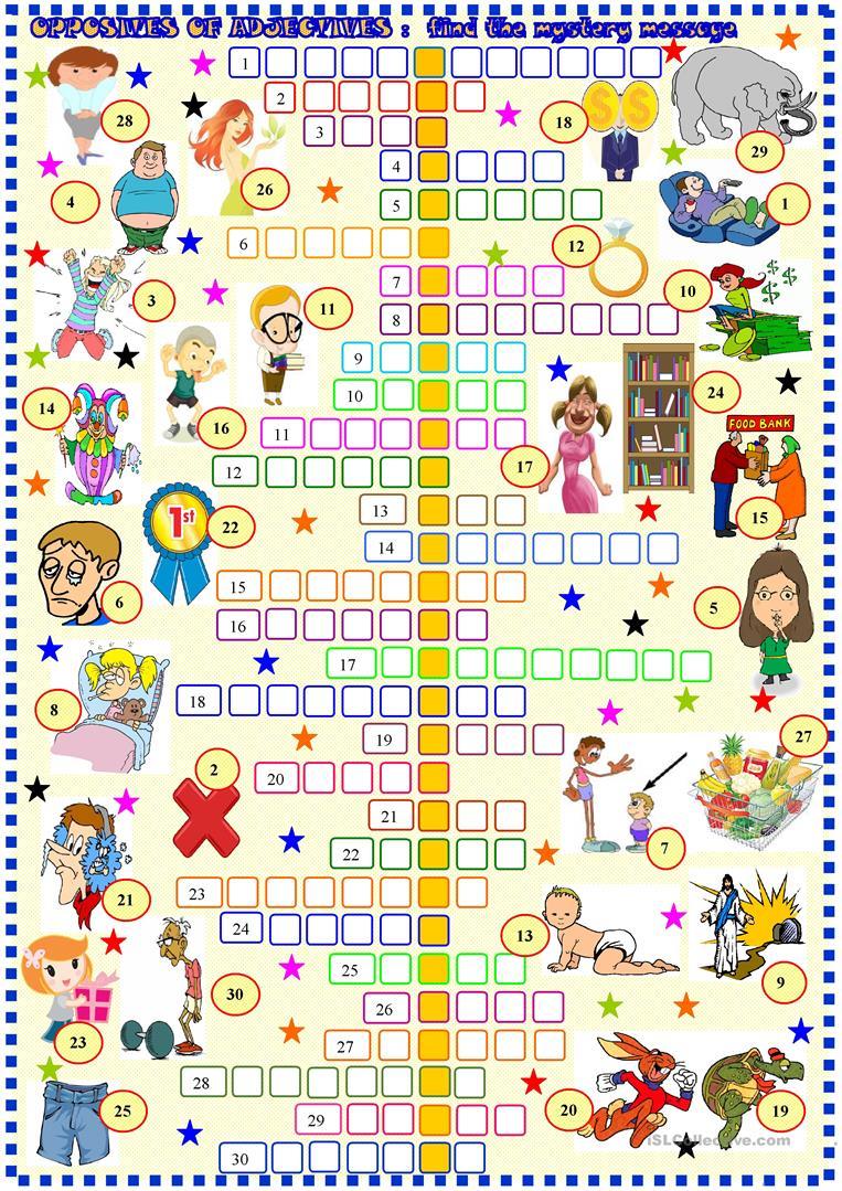 Opposites Of Adjectives: Crossword Worksheet - Free Esl Printable - Printable Opposite Crossword Puzzle