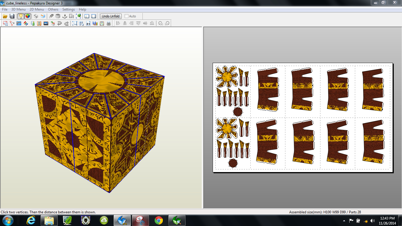 Papercraft .pdo File Template For Hellraiser – Puzzle Box. - Printable Hellraiser Puzzle Box