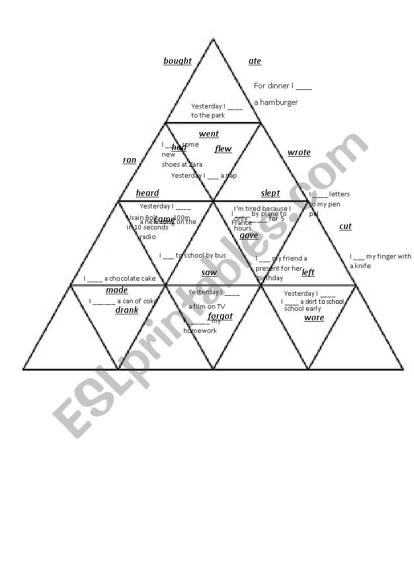 Past Simple Irregular Verbs Puzzle Tarsia - Esl Worksheetshivvers - Printable Tarsia Puzzle