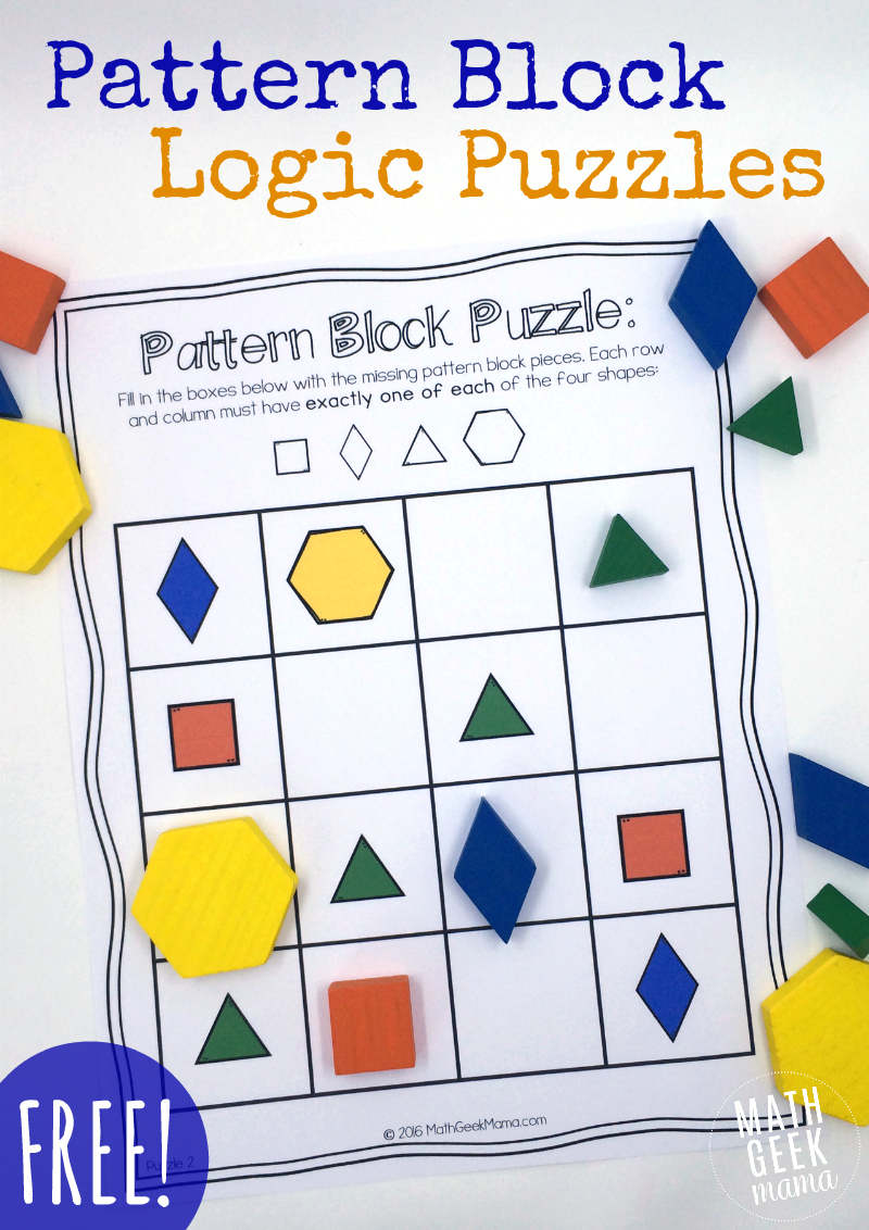 Pattern Block Puzzles {Free} - Free Printable 3D Puzzles