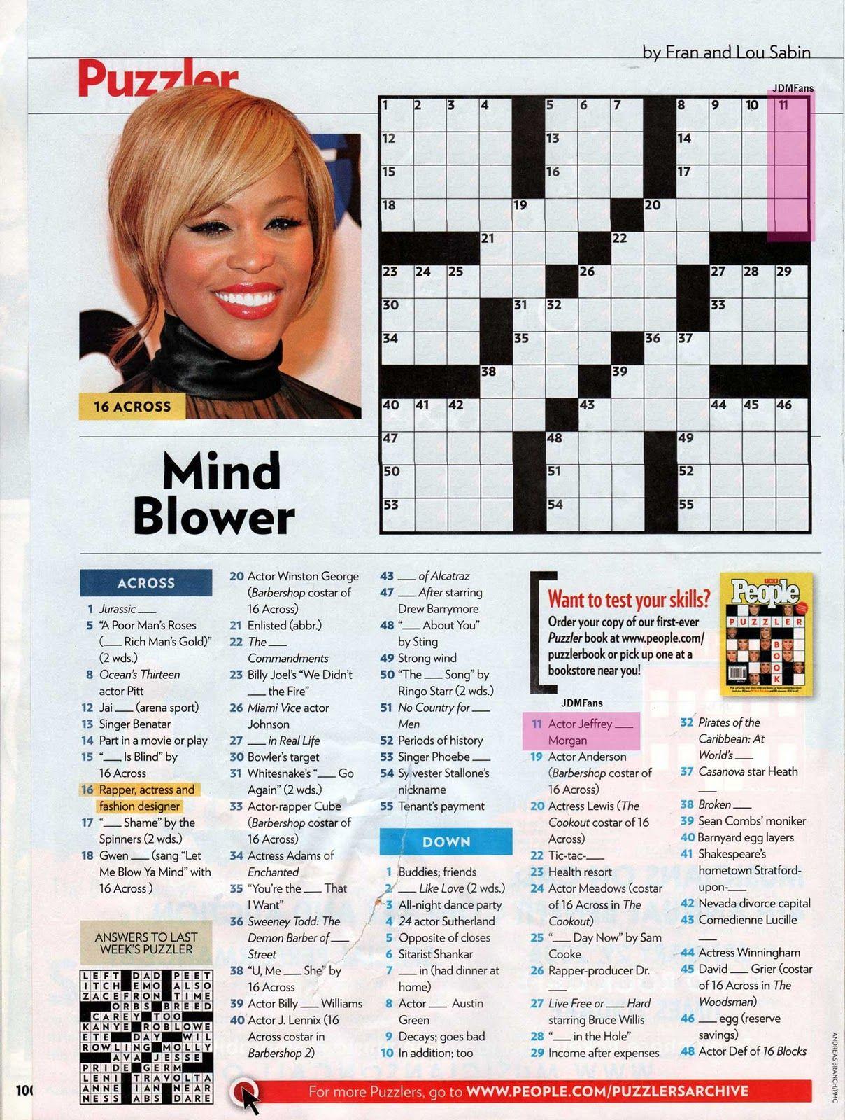 People Magazine Crossword Puzzles To Print | Puzzles In 2019 - Printable People Crossword Puzzles
