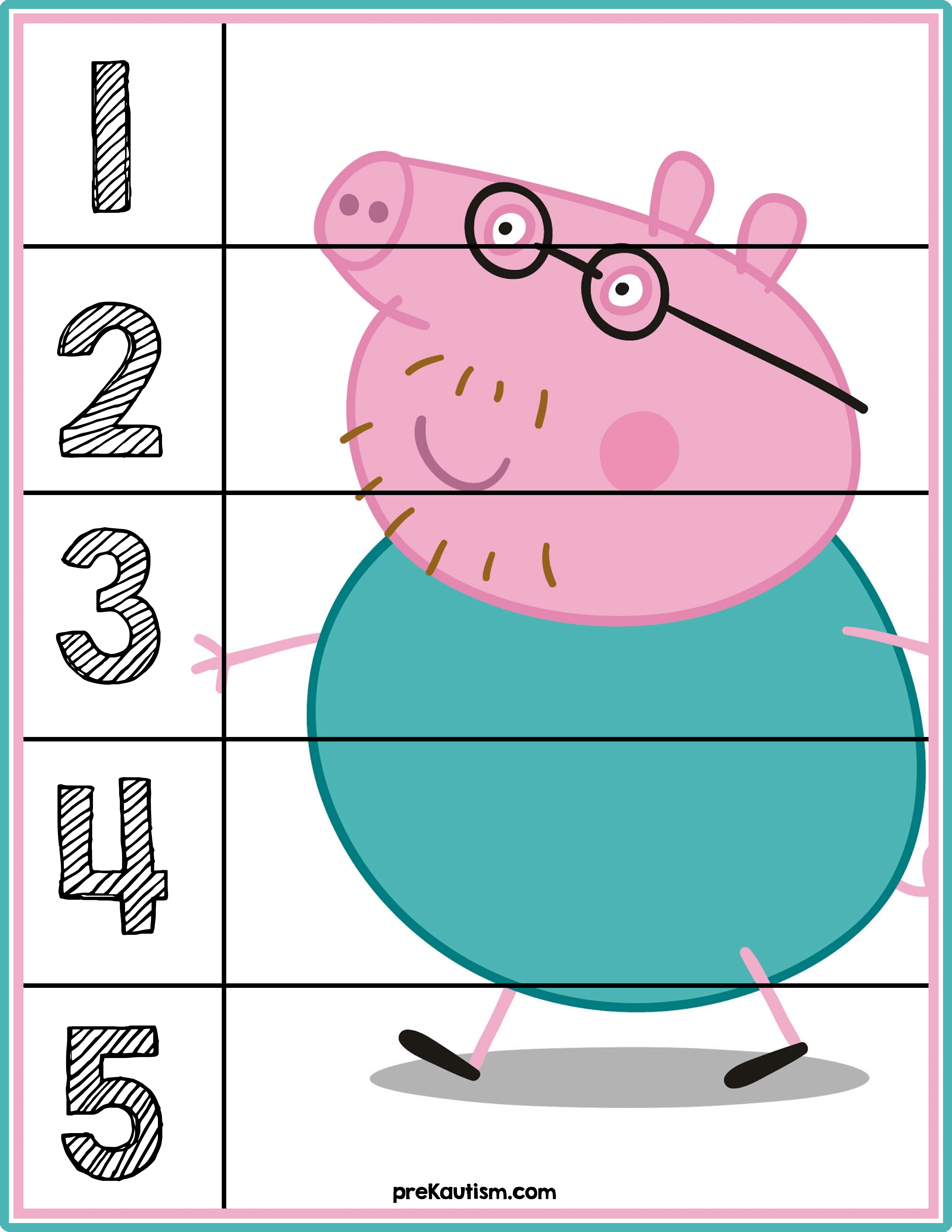 Peppa Pig Number Puzzles #'s 1-5 | Autism Activities For Ages 3-5 - Printable Number Puzzles For Preschoolers