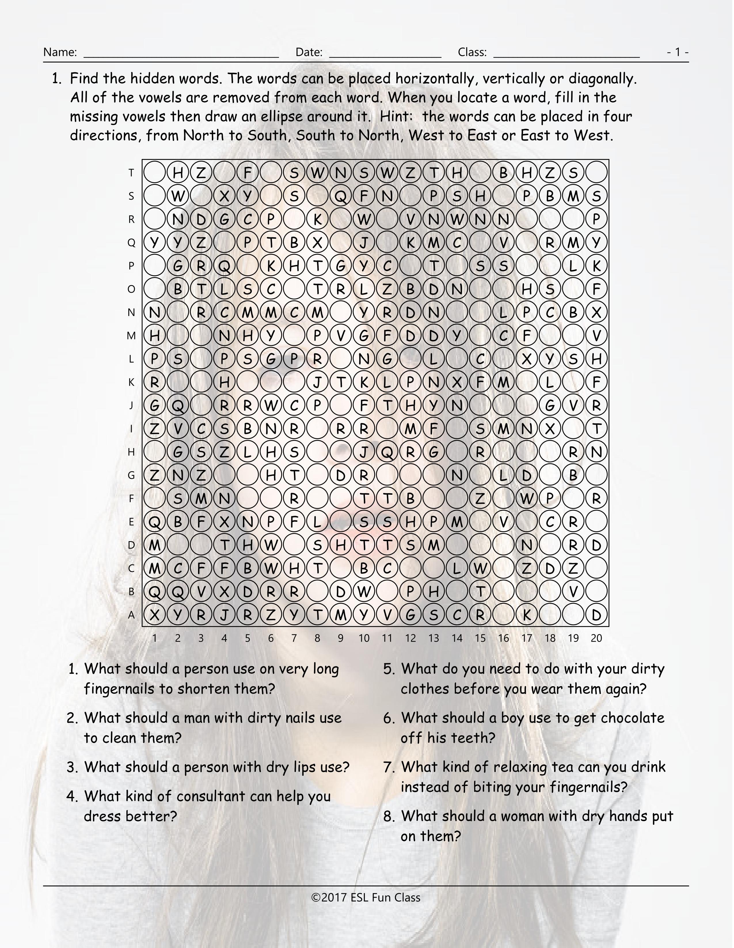 Personal Hygiene-Grooming Missing Vowels Worksheet-Esl Fun Games - Printable Missing Vowels Puzzles