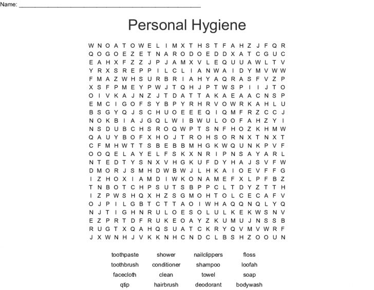 Printable Personal Hygiene Crossword Puzzle