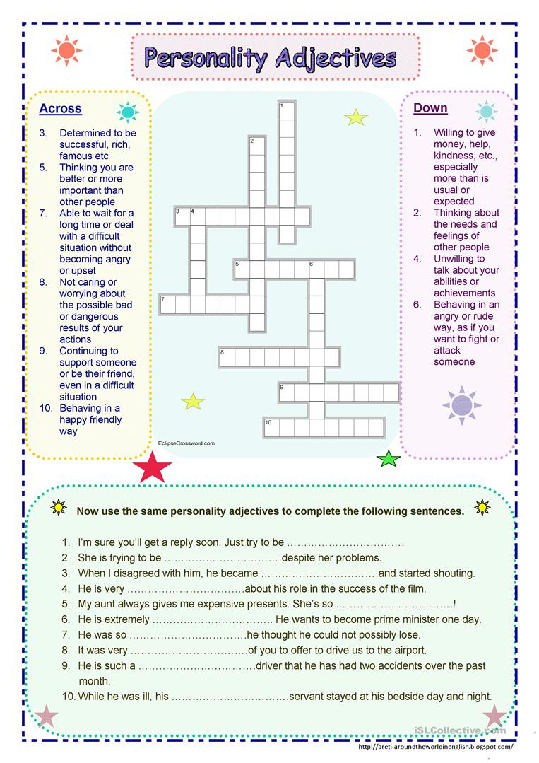 Personality Adjectives Worksheet - Free Esl Printable Worksheets - Adjectives Crossword Puzzle Printable