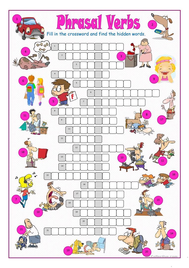 Phrasal Verbs Crossword Puzzle Worksheet - Free Esl Printable - Worksheet Verb Puzzle