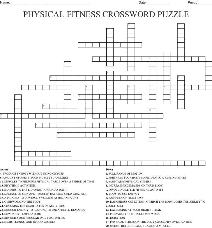 Printable Wellness Crossword Puzzles