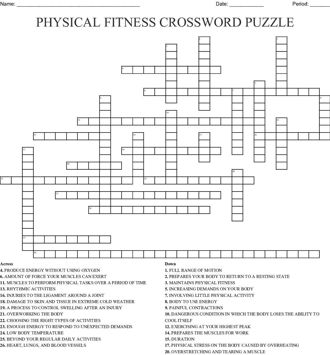 Physical Fitness Crossword Puzzle Crossword - Wordmint - Printable Wellness Crossword Puzzles