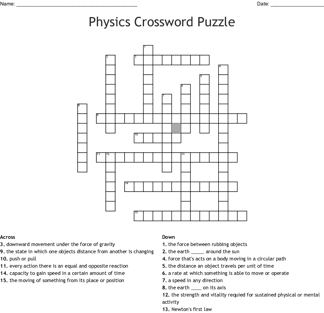 Physics Crossword Puzzle Crossword - Wordmint - Physics Crossword Puzzles Printable With Answers