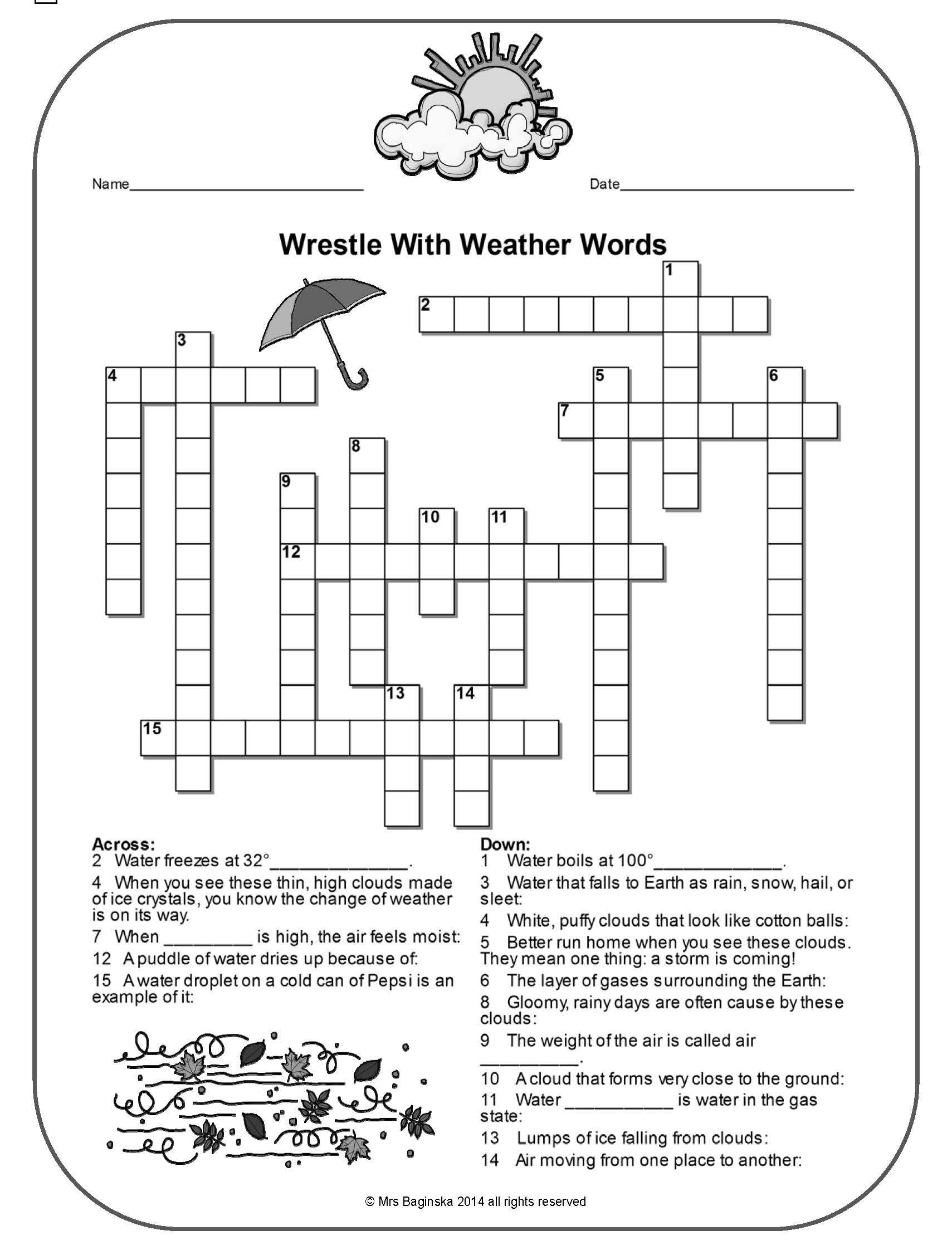 Pina Demanding 4Th Grade Teacher On Tpt Free Lessons | Weather - 4Th Grade Crossword Puzzles Printable