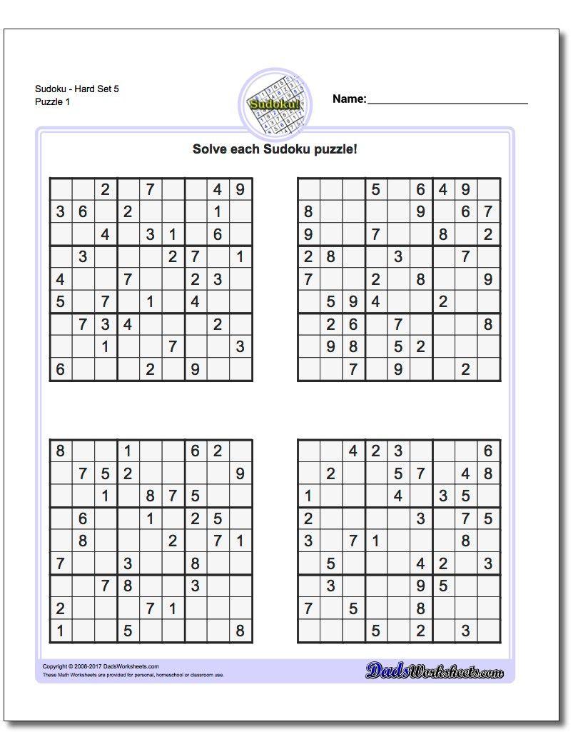 Pindadsworksheets On Math Worksheets   Sudoku Puzzles, Maths - Printable Sudoku Puzzles One Per Page