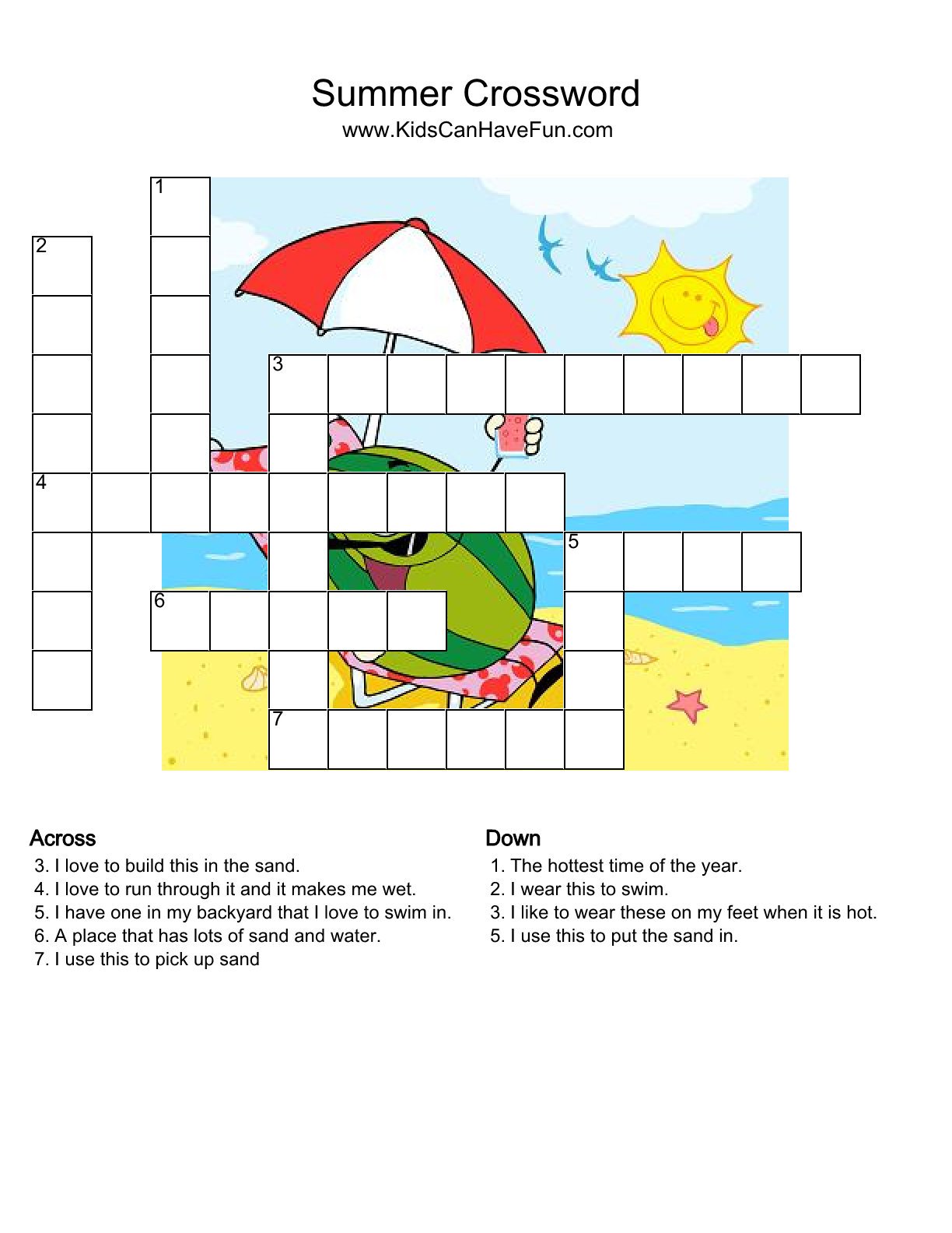Pinsherry Disney On Education | Puzzles For Kids, Crossword - Printable Crossword Puzzles Summer Holidays