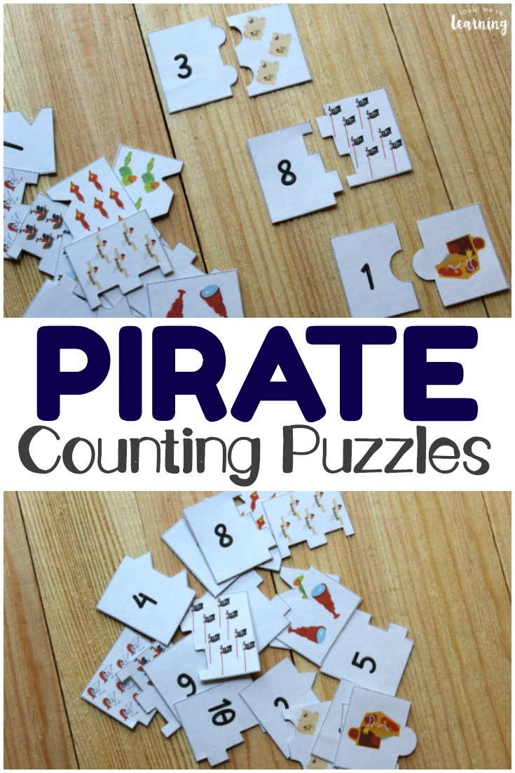 Pirate Printable Counting Puzzles For Kids - Look! We're Learning! - Printable Educational Puzzles
