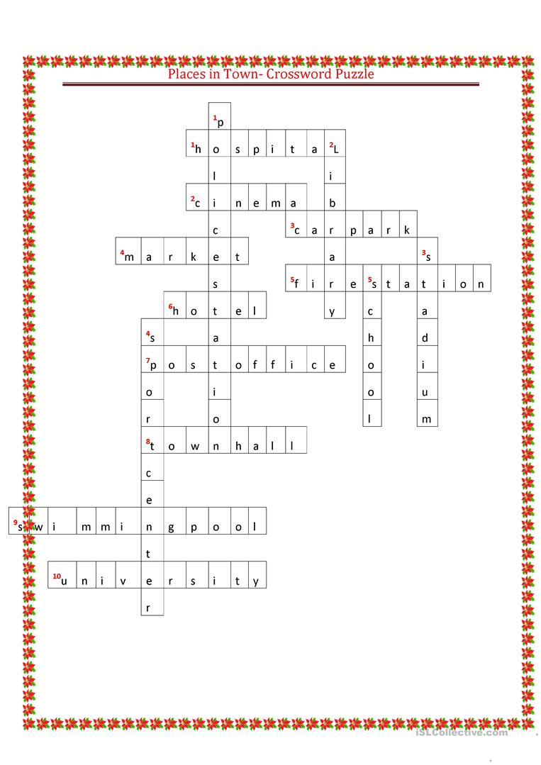 Places In Town Crossword Puzzle Worksheet - Free Esl Printable - Printable Skyscraper Puzzles