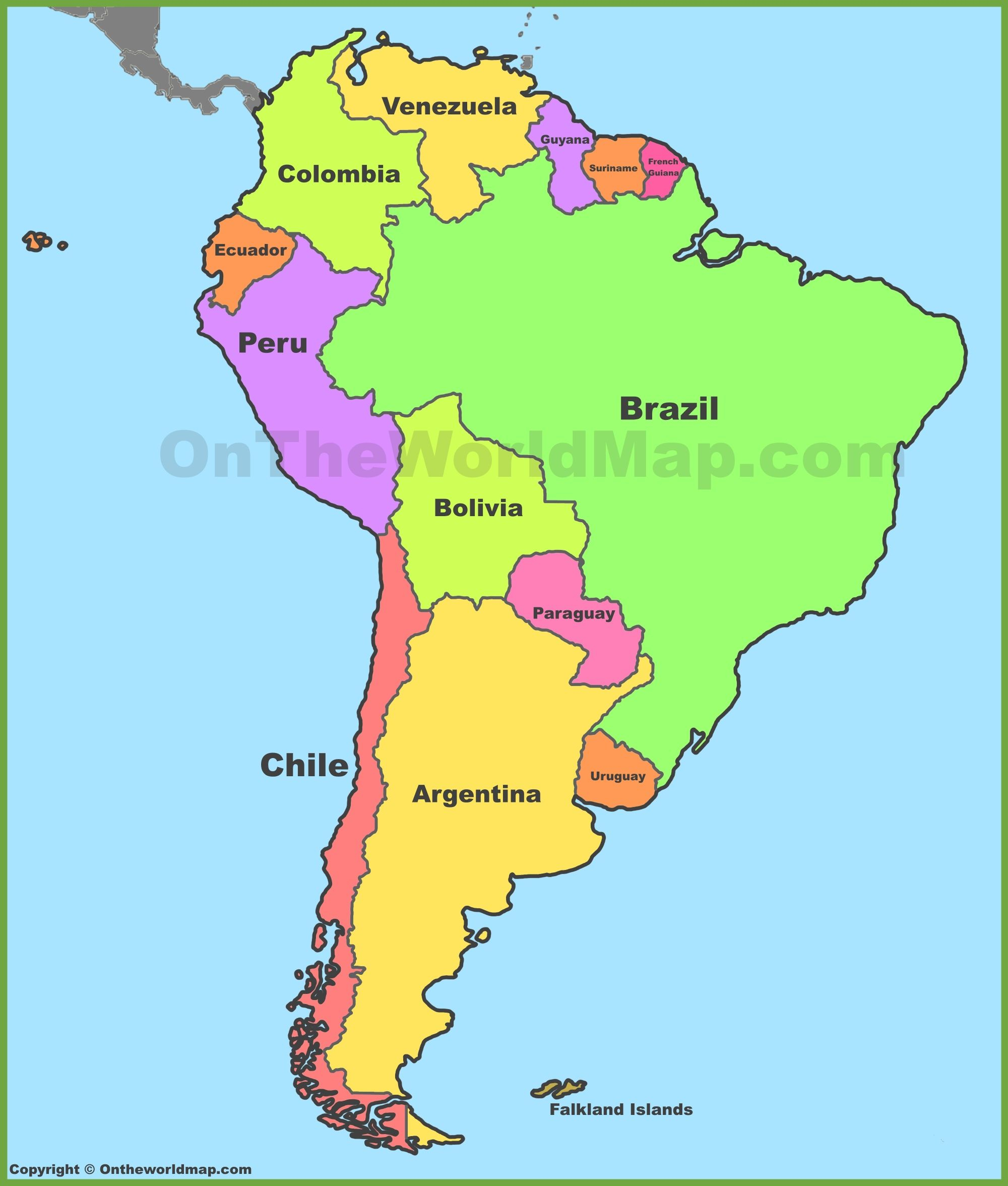 Political Map Of South America | Cool Map | South America Map, Latin - Printable Puzzle South America