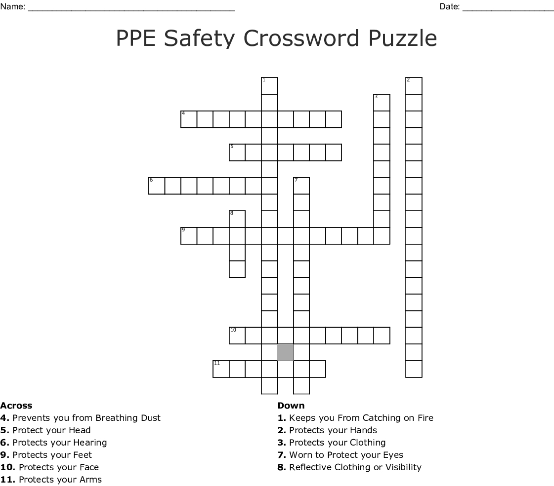 Ppe Safety Crossword Puzzle Crossword - Wordmint - Fire Safety Crossword Puzzle Printable