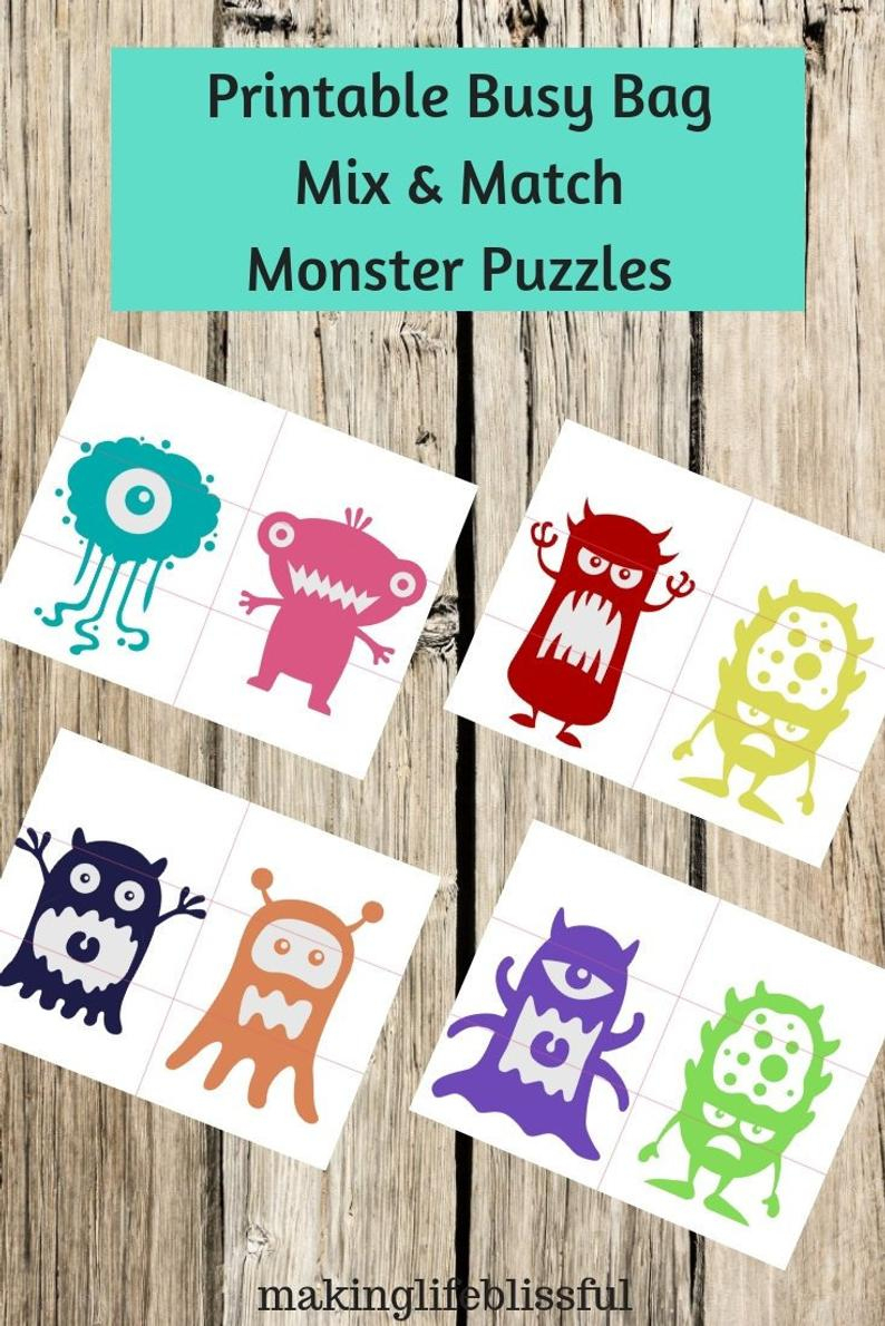 Pre-K Monster Printable Puzzles For Preschool Or Toddler Busy | Etsy - Printable Puzzle Toddler