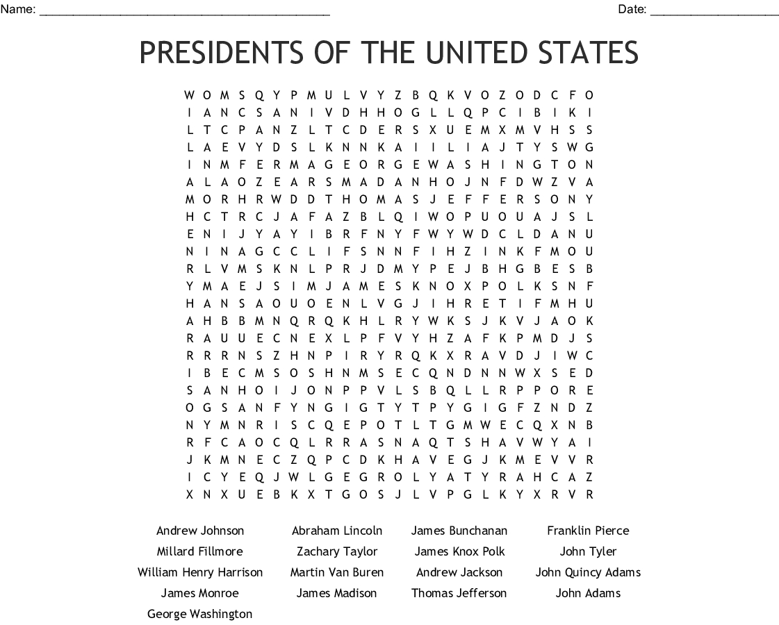 Presidents Of The United States Word Search - Wordmint - Us Presidents Crossword Puzzle Printable