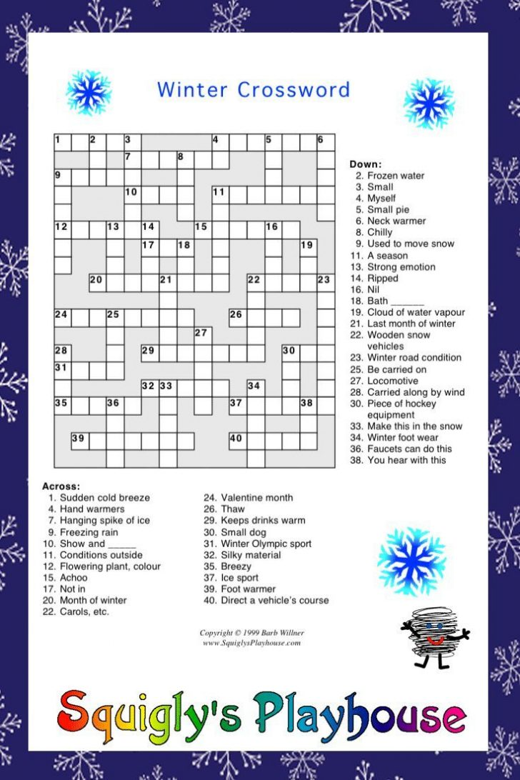 Winter Crossword Puzzle Printable