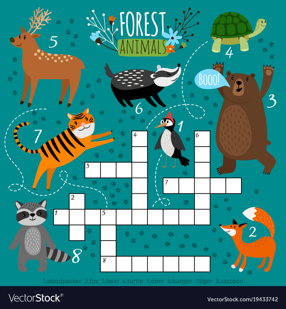Printable Animal Crossword Royalty Free Vector Image - Printable Animal Puzzle