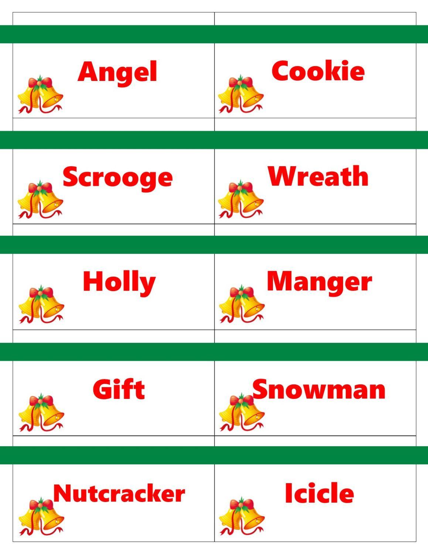 Printable Christmas Game Cards For Pictionary Or Charades, Hangman - Printable Hangman Puzzles