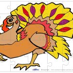 Printable Colored Turkey 1 Medium Piece Puzzle   Printable Turkey Puzzle